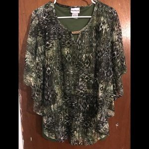 Olive Green Poncho Style Blouse
